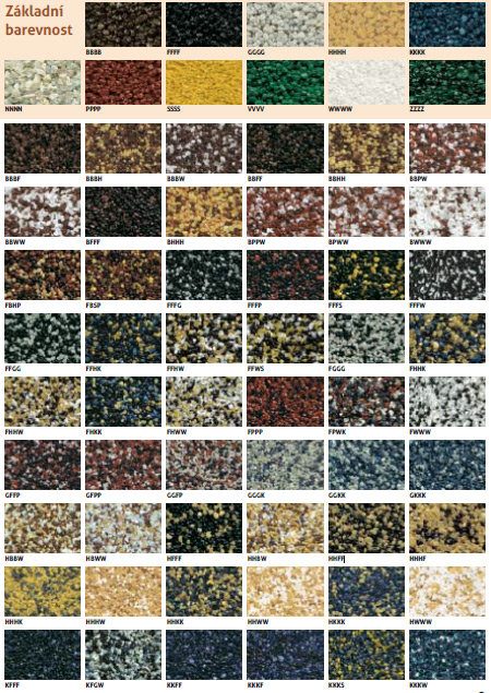 Základní barevnost mramorových omítek